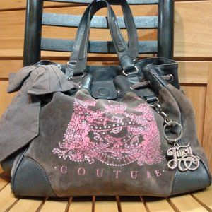 JUICY COUTURE bag - grey velour with leather trim